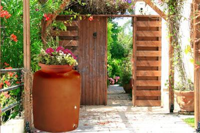 terra cotta decorative rain barrel 300 gallon - Decorative Rain Barrels