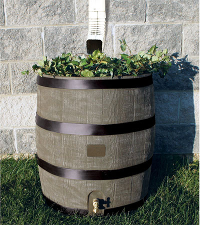 Woodgrain Rain Barrel With Planter Looks Real But Easy Care